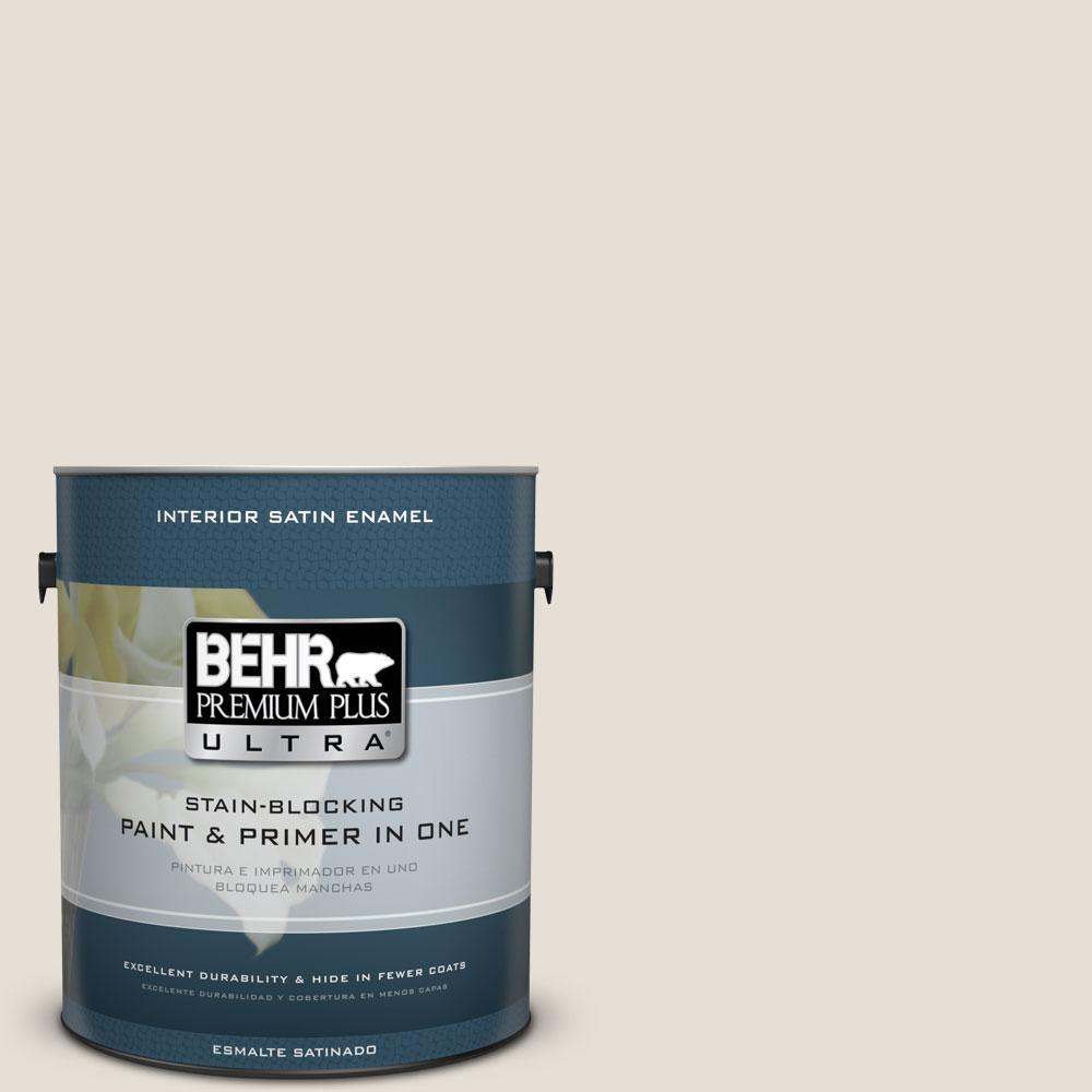 BEHR Premium Plus Ultra 1 gal. #PPU7-11 Cotton Knit Satin Enamel Interior Paint and Primer in One