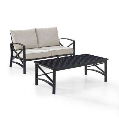 Kaplan 2-Piece Metal Patio Outdoor Seating Set with Oatmeal Cushion - Loveseat, Coffee Table