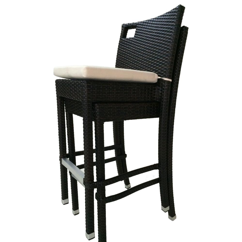 Sydney Stackable Wicker Outdoor Bar Stool With Cream White Cushion 2 Pack Ptbrslsyd The Home Depot