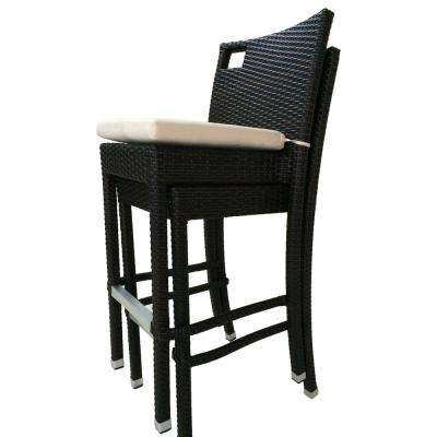 Sydney Stackable Wicker Outdoor Bar Stool with Cream White Cushion (2-pack)