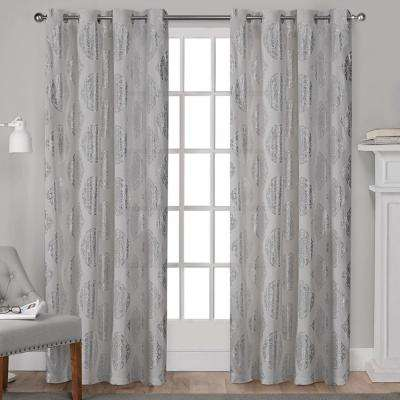 Augustus 54 in. W x 96 in. L Cotton Grommet Top Curtain Panel in Silver (2 Panels)