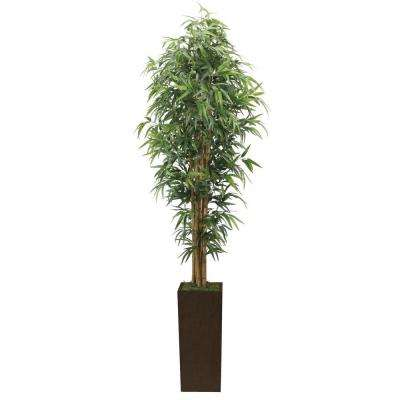 7 ft. Tall High End Realistic Silk Bamboo Tree with Brown and Bronze Wood Planter