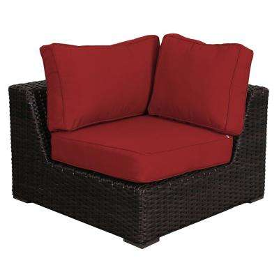 Superb Santa Monica Patio Wicker Corner Outdoor Sectional Chair With Sunbrella Red Cushion Home Interior And Landscaping Ologienasavecom