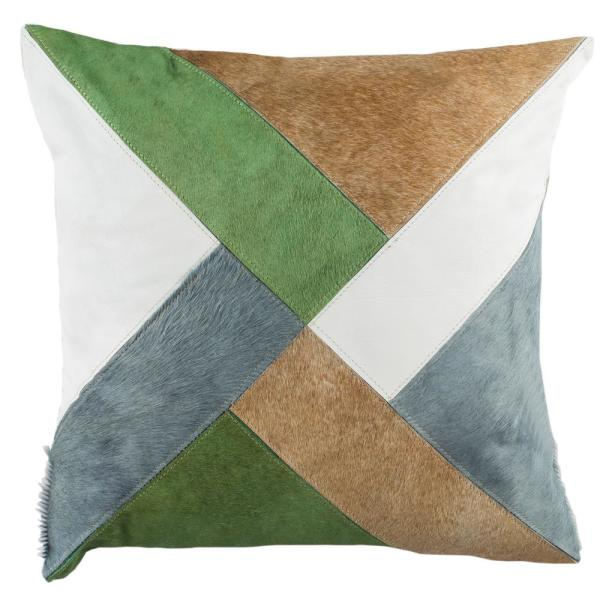 Clovis Multicolored Geometric Cowhide Polyester 20 in. x 20 in. Throw Pillow