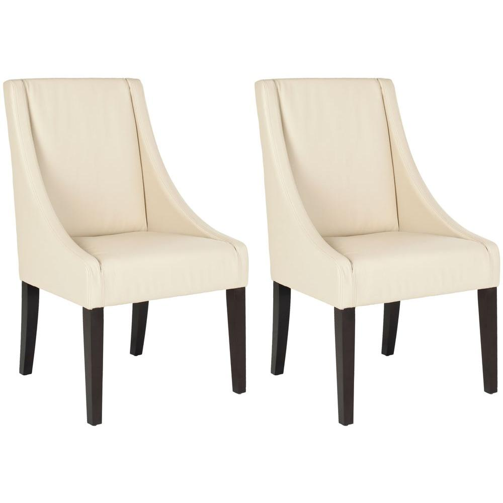 Britannia Cream/Espresso Bicast Leather Side Chair (Set of 2)