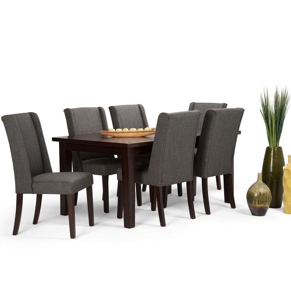 Simpli Home Sotherby 7 Piece Dining Set With 6 Upholstered Chairs In Slate Grey