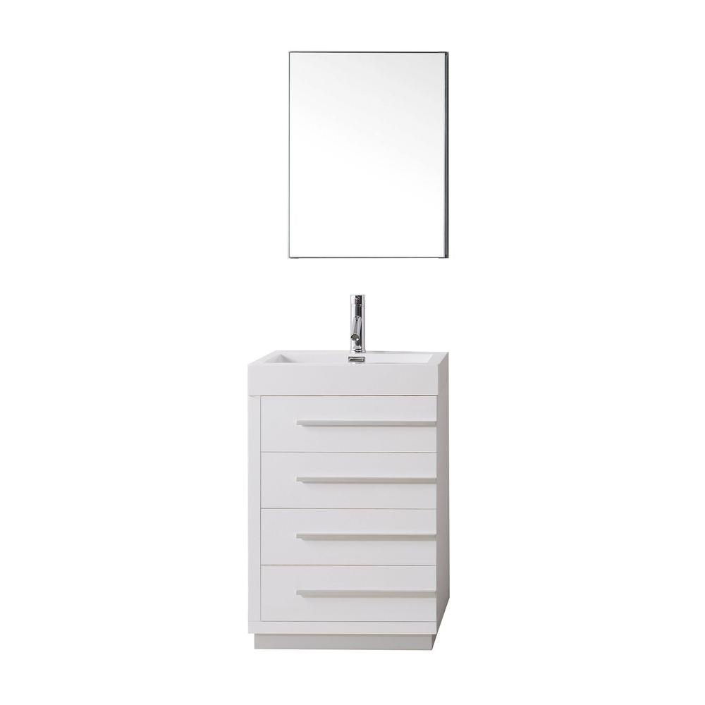 Virtu USA Bailey 23.62 in. W Vanity in Gloss White with Poly-Marble Vanity Top in White with White Basin and Mirror