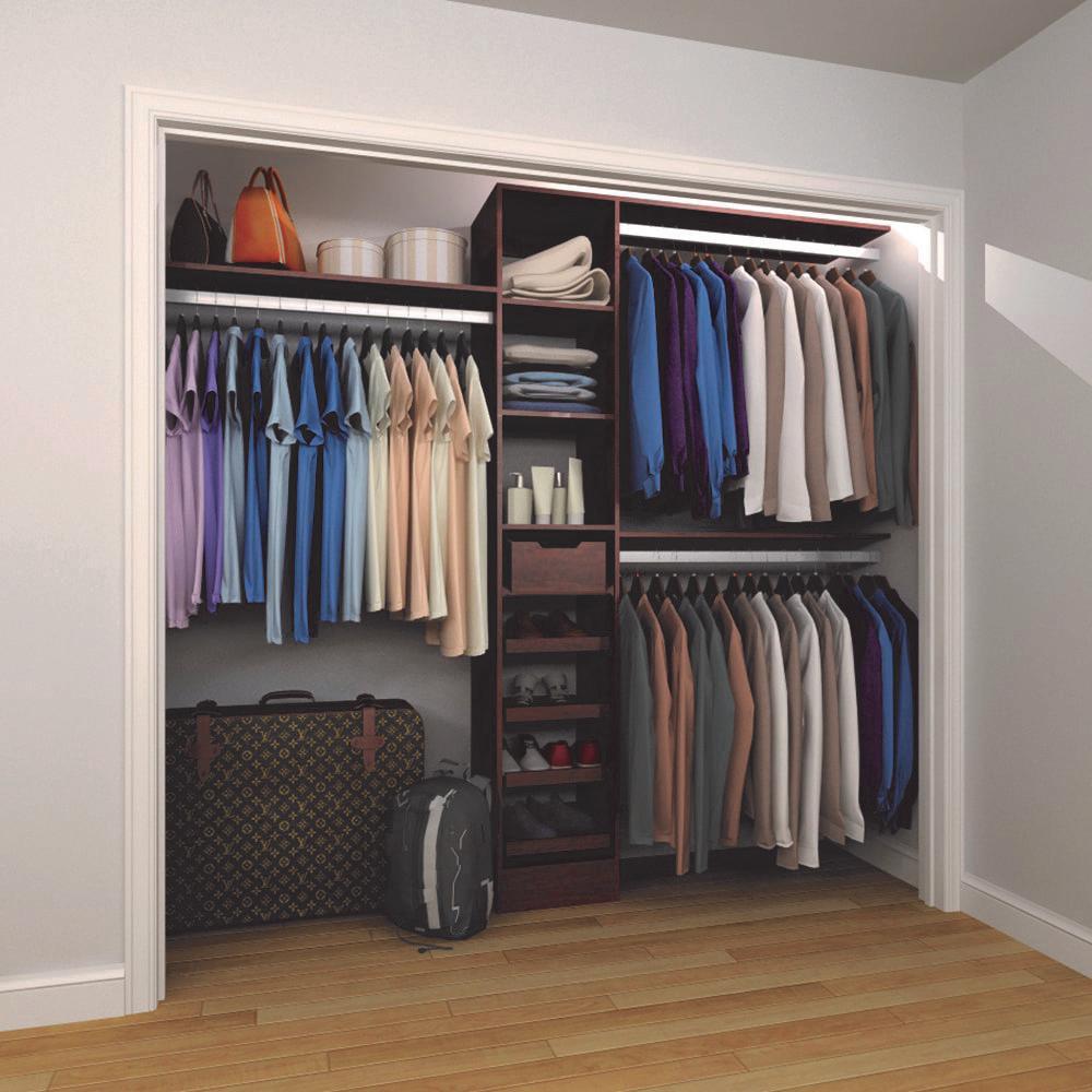 15 in. D x 105 in. W x 84 in. H Melamine Reach-In Closet System Kit in Mocha