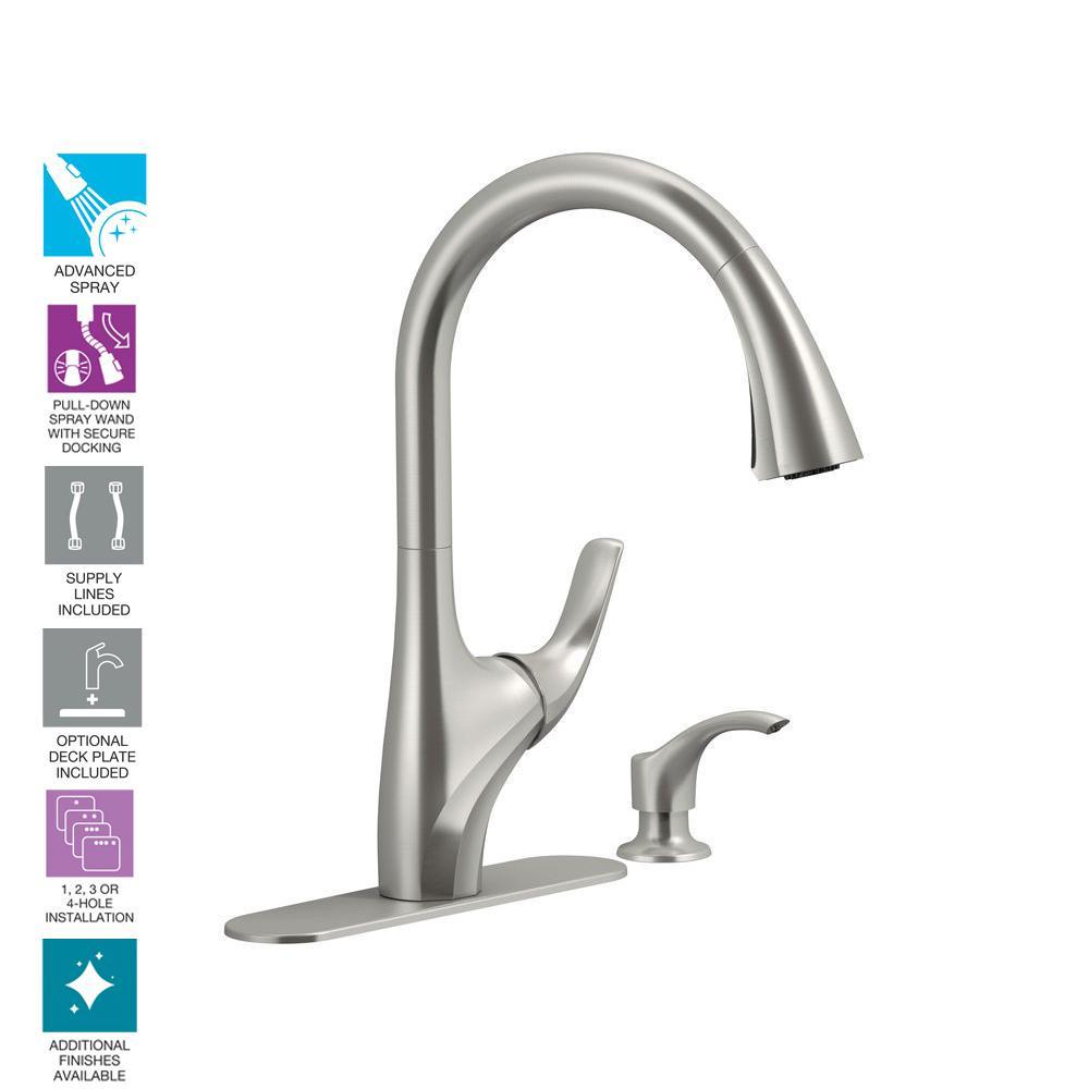 Kohler Trielle Single Handle Pull Down Sprayer Kitchen Faucet In Vibrant Stainless K R18594 Sd Vs The Home Depot