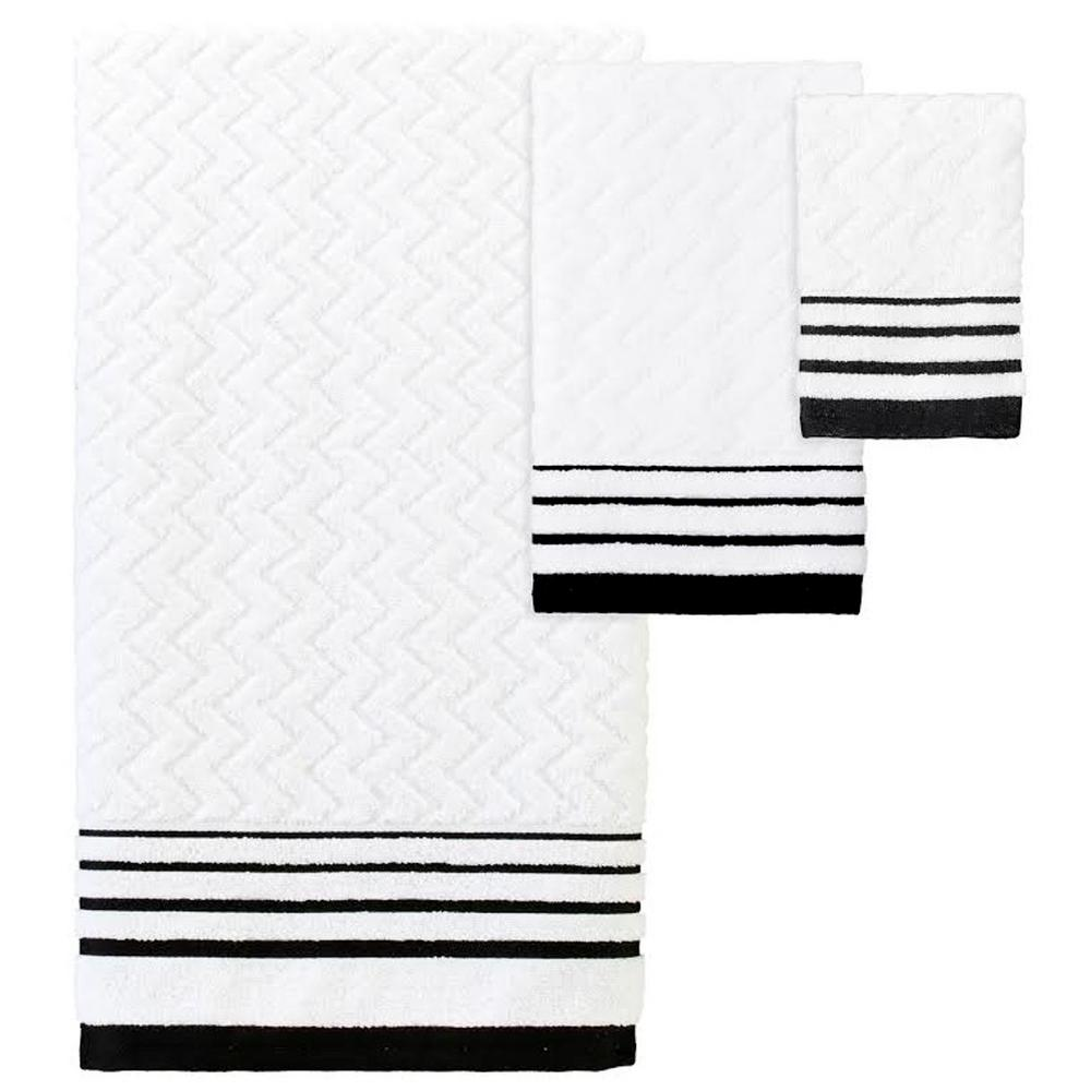 Creative Bath Modern Angles 3 Piece Jacquard Bath Towel Set In