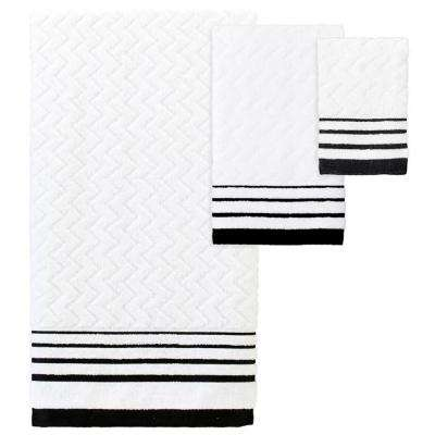 Modern Angles' 3-Piece Jacquard Bath Towel Set In White/Black