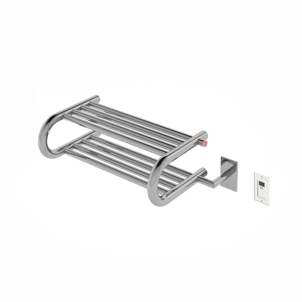 Essentia Shelf 8-Bar Hardwired and Plug-in Towel Warmer in Polished Stainless