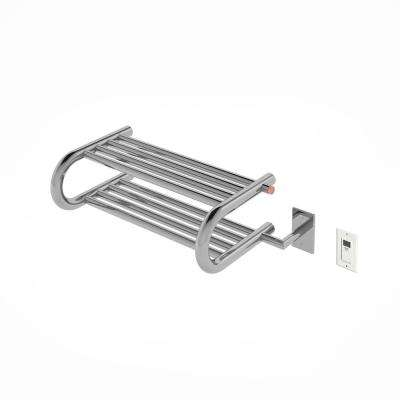 Essentia Shelf 8-Bar Hardwired and Plug-in Towel Warmer in Polished Stainless Steel with Timer