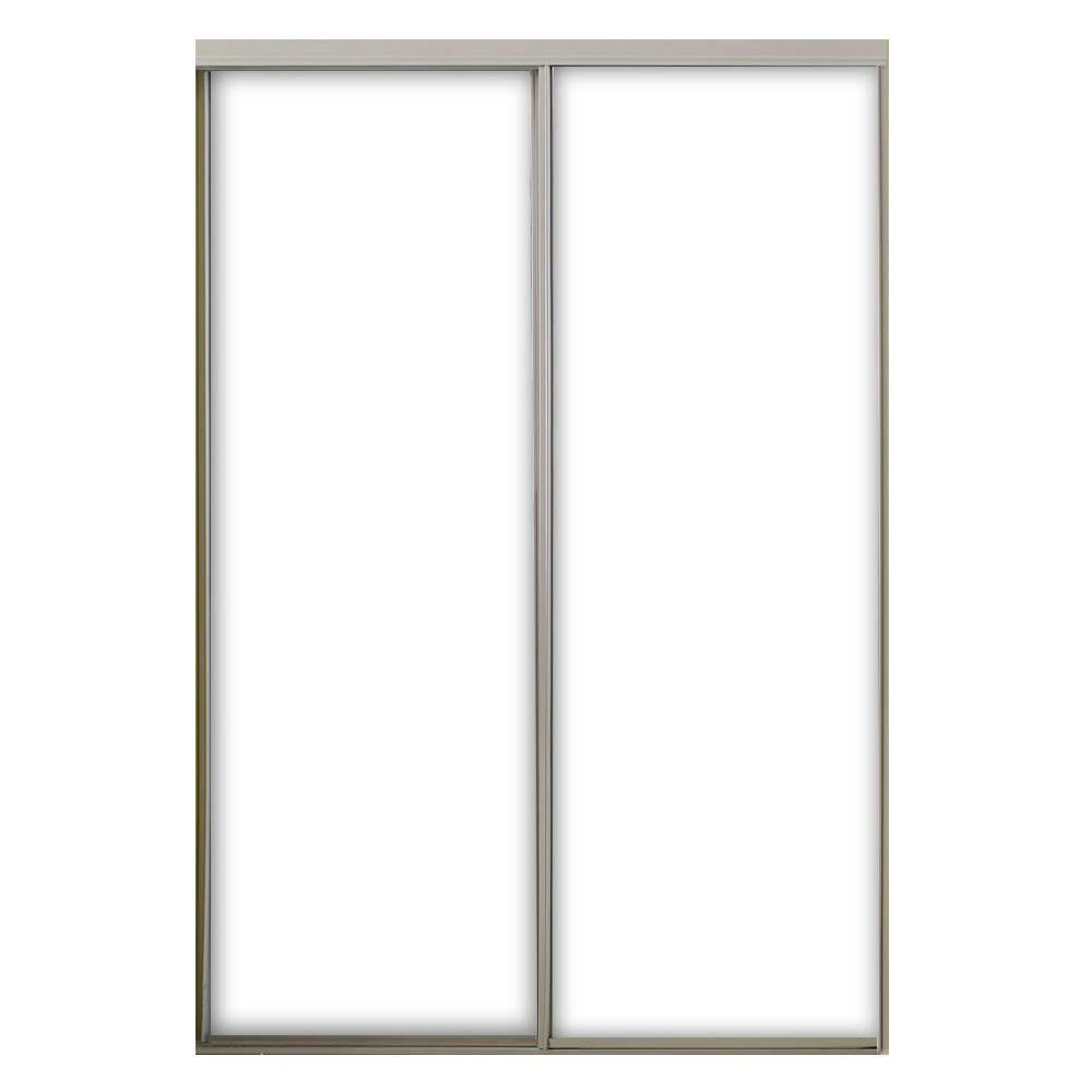 71 in. x 80.5 in. Aspen White Prefinished Hardboard Panels Steel Framed Interior Sliding Door