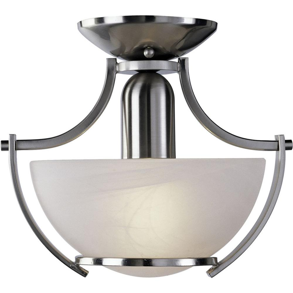 Volume Lighting Durango 1 Light Brushed Nickel Interior Semi Flush Mount