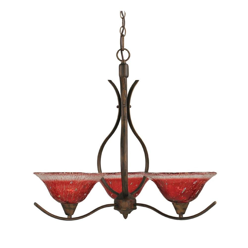 Filament Design Concord 3-Light Bronze Chandelier with Raspberry Crystal Glass