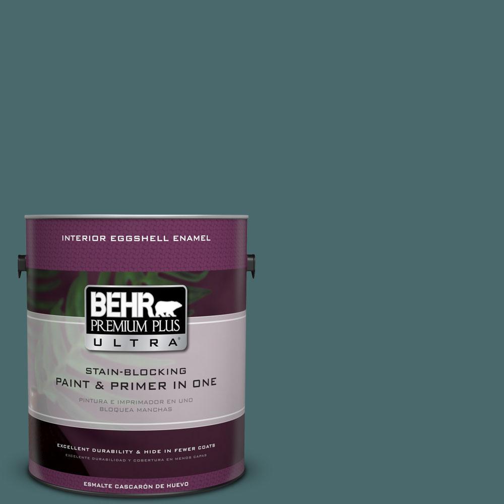 BEHR Premium Plus Ultra 1-gal. #510F-6 Solitude Eggshell Enamel Interior Paint, Turquoises/Aquas
