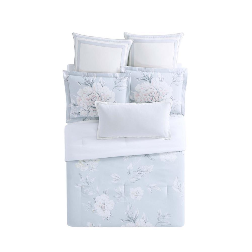 Stem Gray Floral King Polyester Duvet Cover