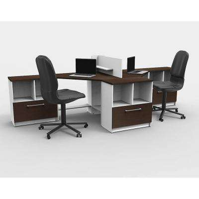 6-Piece White/Espresso Office Reception Desk Collaboration Center