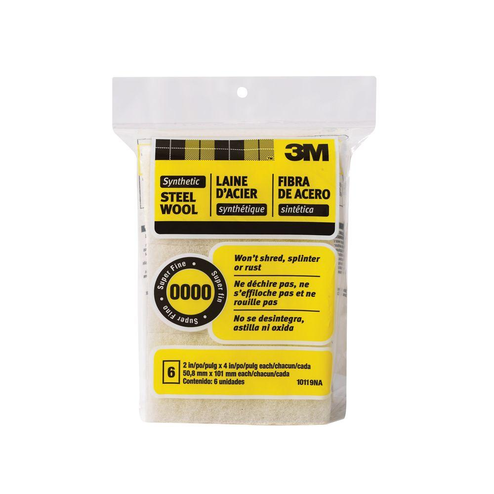 3M 2 in. x 4 in. #0000 Super Fine Synthetic Steel Wool Pads (6-Pack)