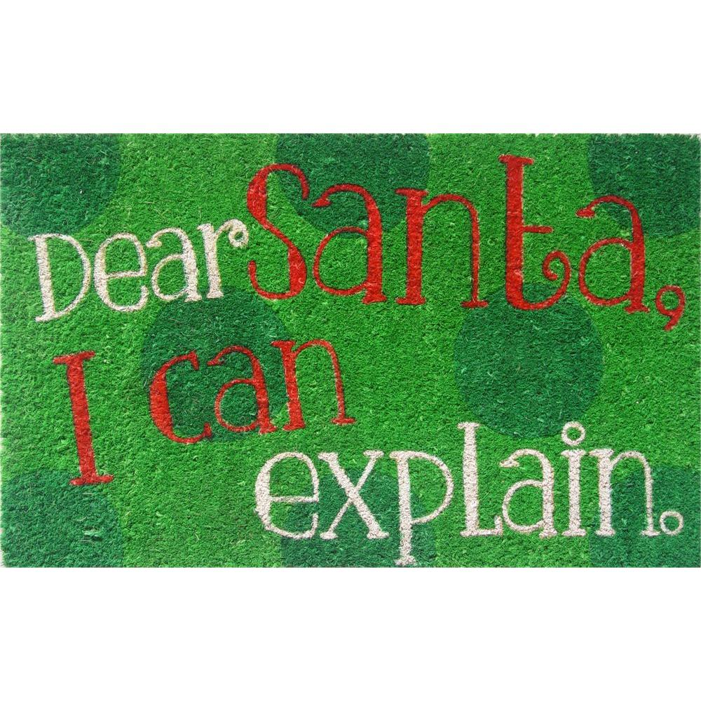 Entryways Dear Santa 17 In X 28 In Non Slip Coir Door Mat P2039