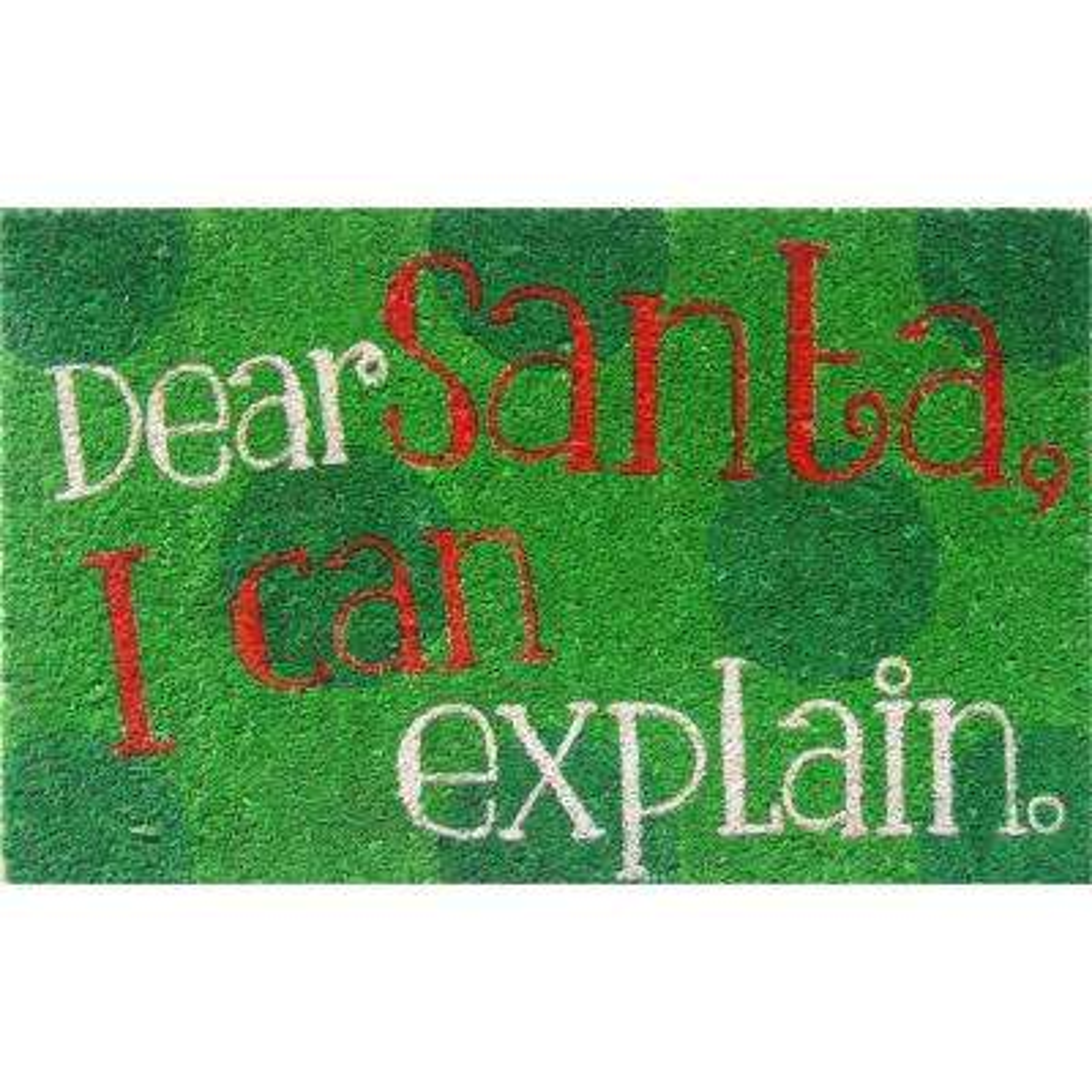 Dear Santa 17 in. x 28 in. Non-Slip Coir Door Mat