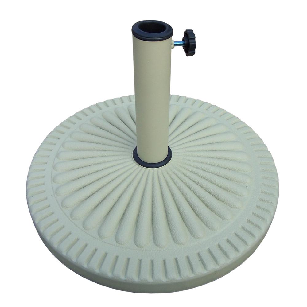Cast Polyresin Patio Umbrella Base in Cream White