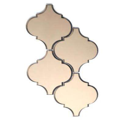 Reflections Gold Big Lantern Arabesque Mosaic 5 in. x 5 in. Glass Mirror Mesh Mounted Wall Tile (0.5 Sq.Ft)