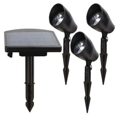 Solar Powered Black Outdoor Integrated LED 3000K Warm White landscape Spot Light Kit with Remote Panel (3-Pack)