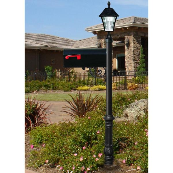 Qualarc Lewiston Mailbox Collection Post With Economy 1 Mailbox Ornate Base And Solar Lamp In Black Lpst 700 E1sl The Home Depot