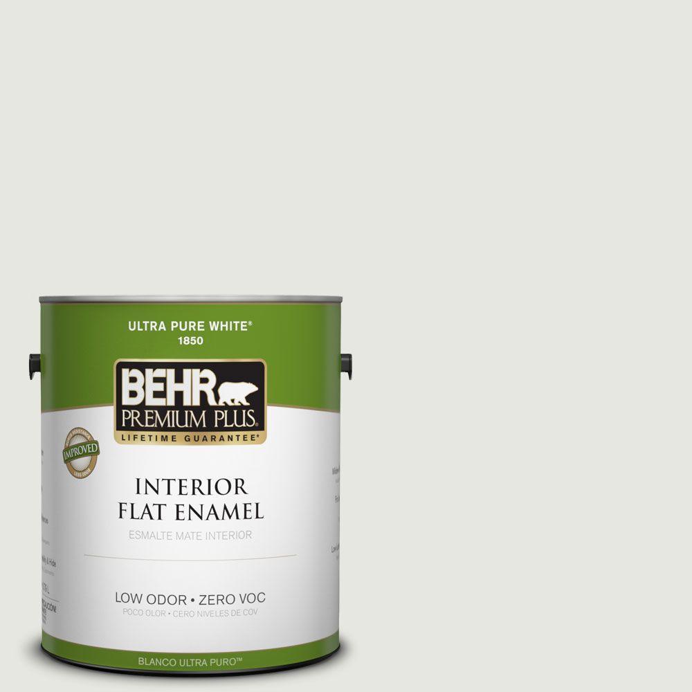 BEHR Premium Plus 1-gal. #PWN-64 Silver Dust Zero VOC Flat Enamel Interior Paint-DISCONTINUED