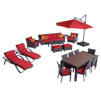 Deco Estate Wicker 20 Piece Patio Conversation Set With Sunbrella Sunset Red  Cushions