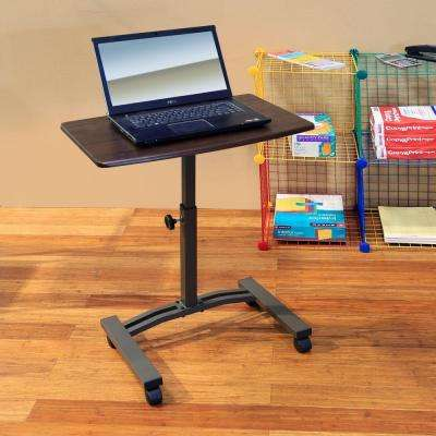 "AIRLIFT Walnut/Black Mobile Laptop Computer Desk Cart With Adjustable Height Range 20.5"" to 33"""