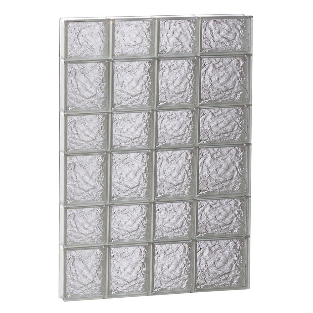 Clearly Secure 25 in. x 40.5 in. x 3.125 in. Frameless Ice Pattern Non-Vented Glass Block Window