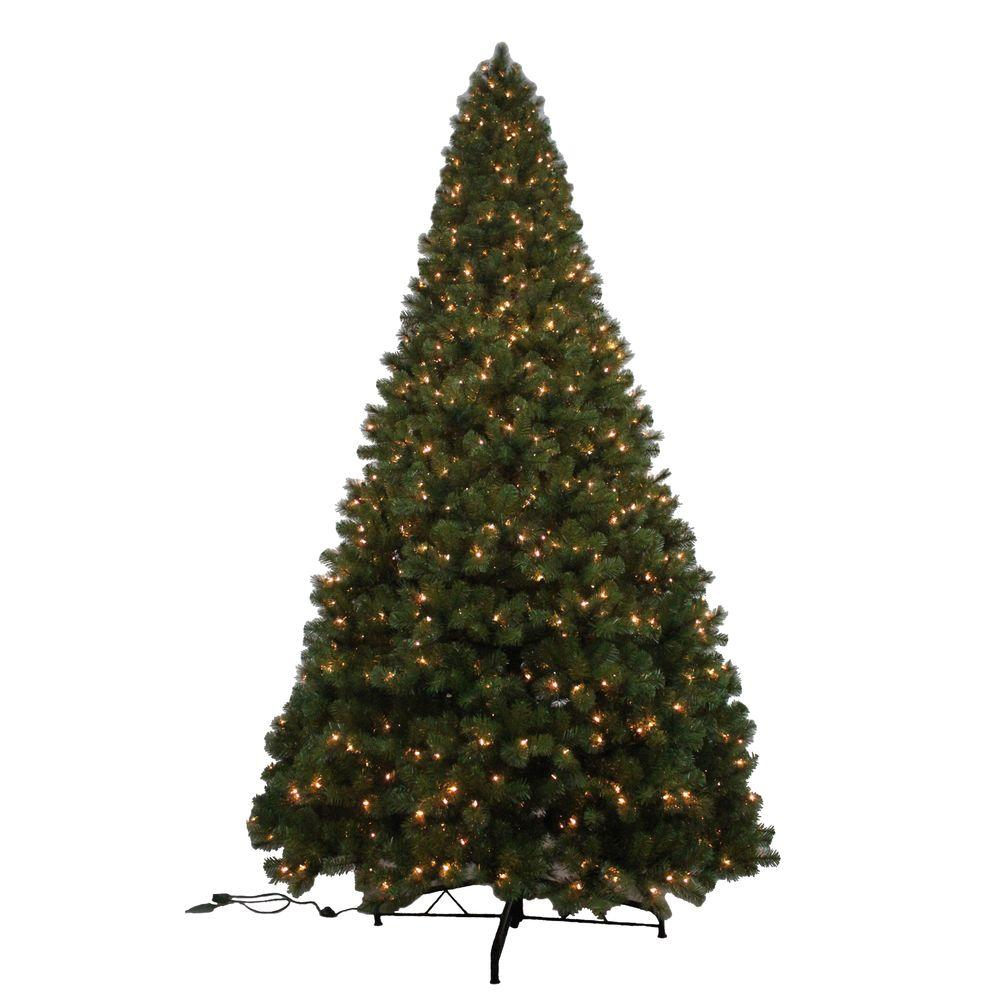 Home Accents Holiday 12 ft. Noble Fir Quick-Set Artificial Christmas Tree with 1450