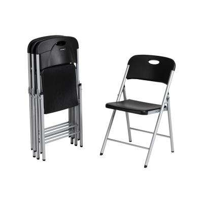 Black Resin Outdoor Safe Folding Chair (4-Pack)