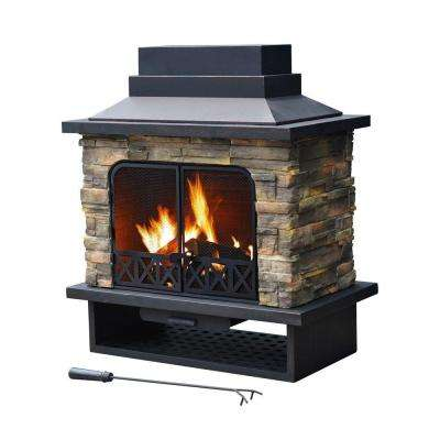 Farmington 42 in. x 24 in. Steel Faux Stone Outdoor Fireplace