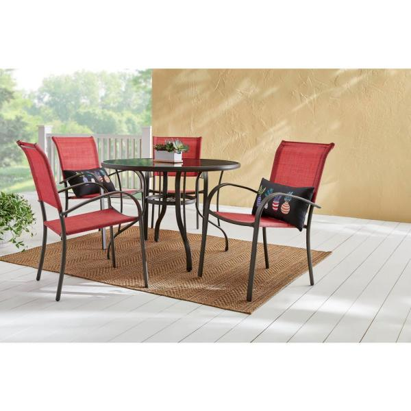 Hampton Bay Mix And Match Stationary Stackable Steel Split Back Sling Outdoor Patio Dining Chair In Conley Chili Fcs70391 Chili The Home Depot