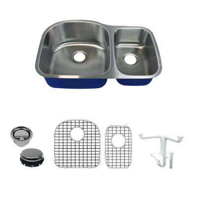 Meridian All in.-One Undermount Stainless Steel 31.5 in. 75/25 Double Bowl Kitchen Sink in Brushed Stainless Steel