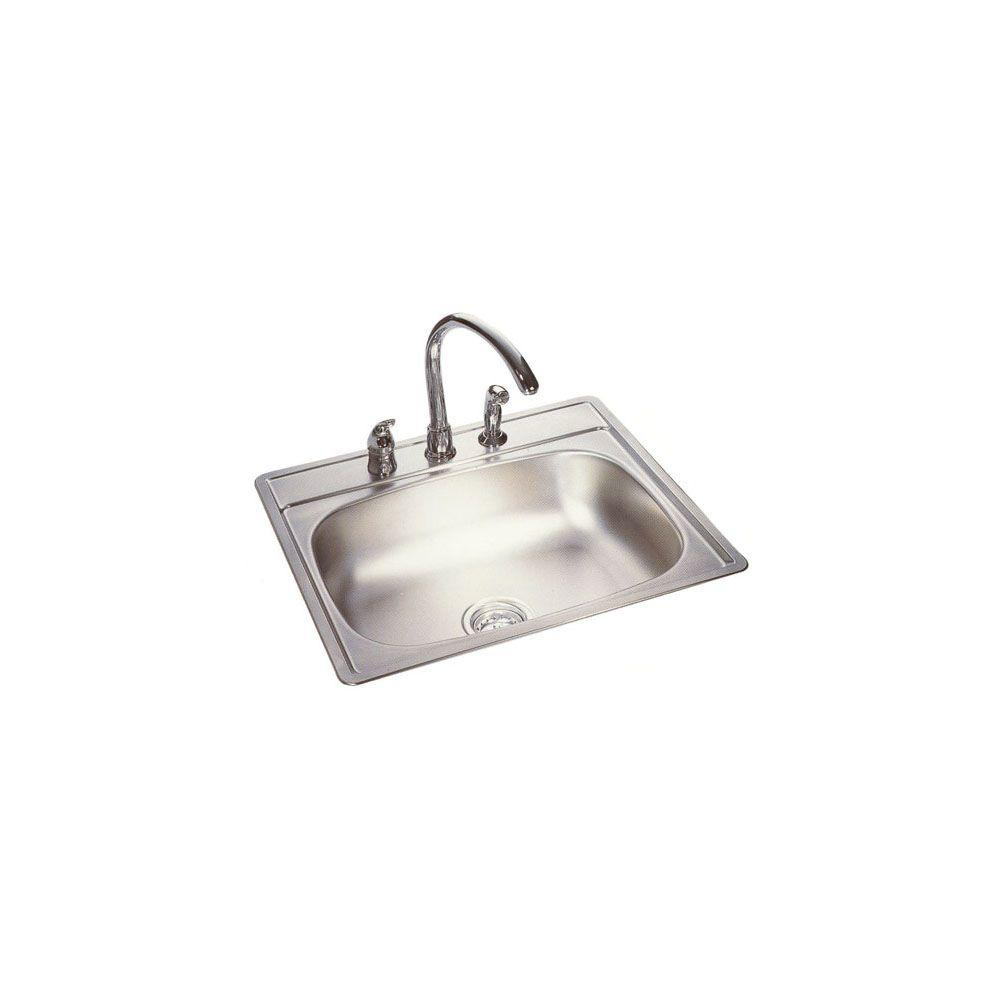 Drop-in Stainless Steel 25 in 4-Hole Single Bowl Kitchen Sink in Satin deck and bowl
