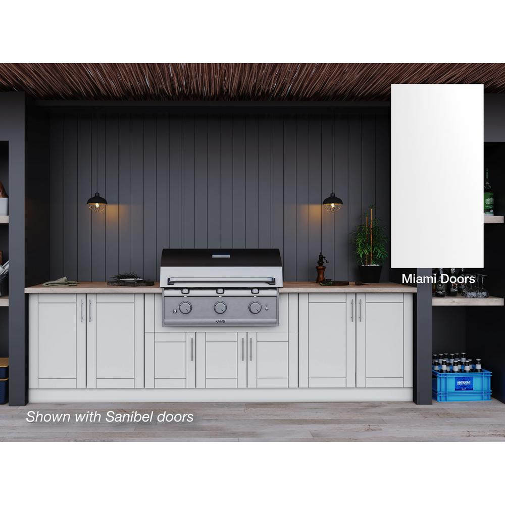 Weatherstrong Miami Shell White 17 Piece 121 25 In X 34 5 In X 28 In Outdoor Kitchen Cabinet Set Wse120wm Msw The Home Depot