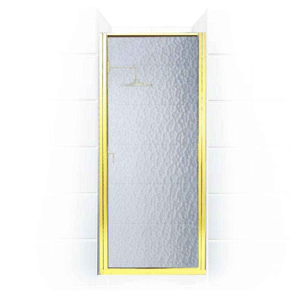 Coastal Shower Doors Paragon Series 29 in. x 65 in. Framed Continuous Hinged Shower Door in Gold with Aquatex Glass