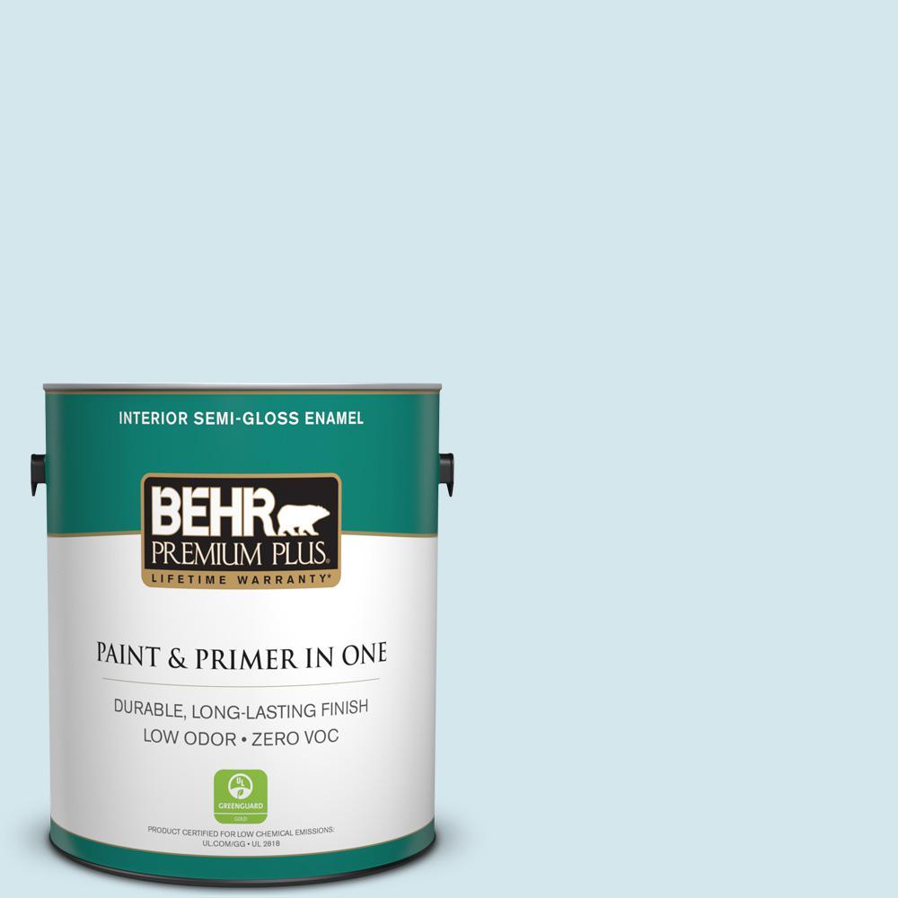 BEHR Premium Plus 1-gal. #520E-1 Coastal Mist Zero VOC Semi-Gloss Enamel Interior Paint