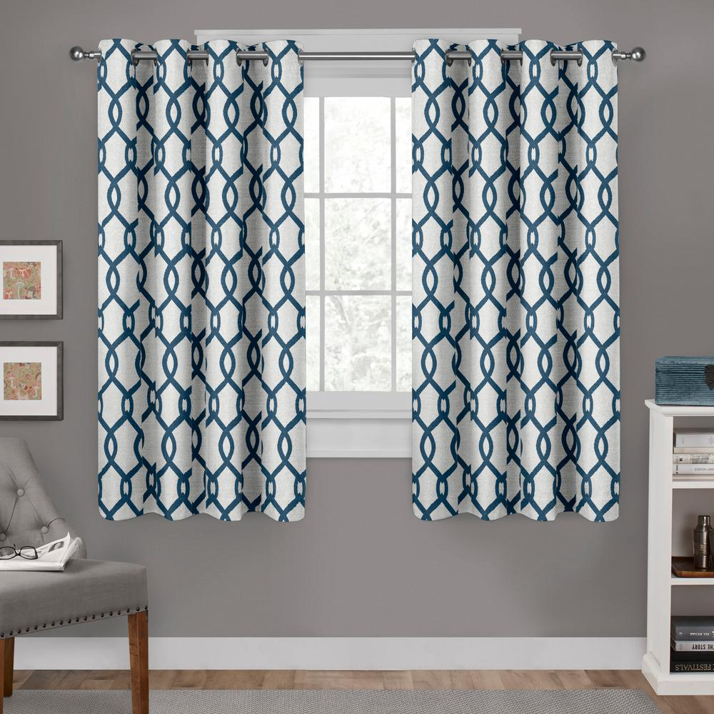 Kochi Teal Linen Blend Grommet Top Window Curtain-EH8270-02 2-63G ...