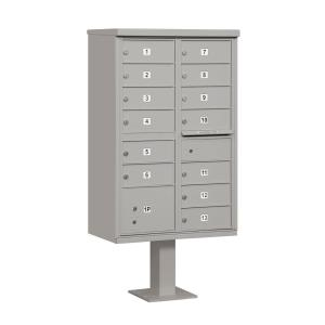 Gray USPS Access Cluster Box Unit with 13 B Size Doors and Pedestal
