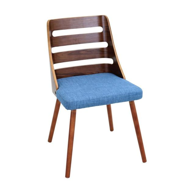 Lumisource Trevi Walnut and Blue Accent Chair