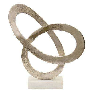15 in. Silver Metal Sculpture with Marble Base