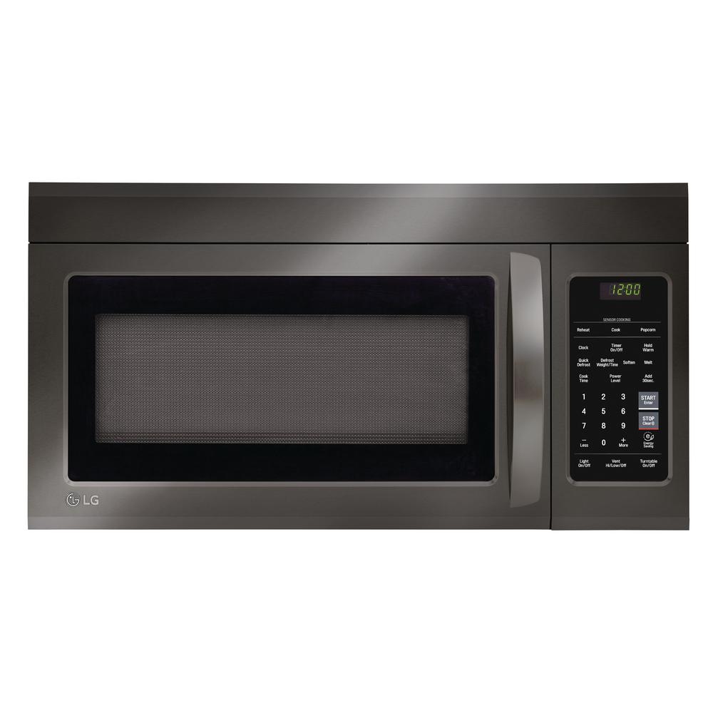 Lg electronics 1 8 cu ft over the range microwave in black stainless steel lmv1831bd the - Built in microwave home depot ...
