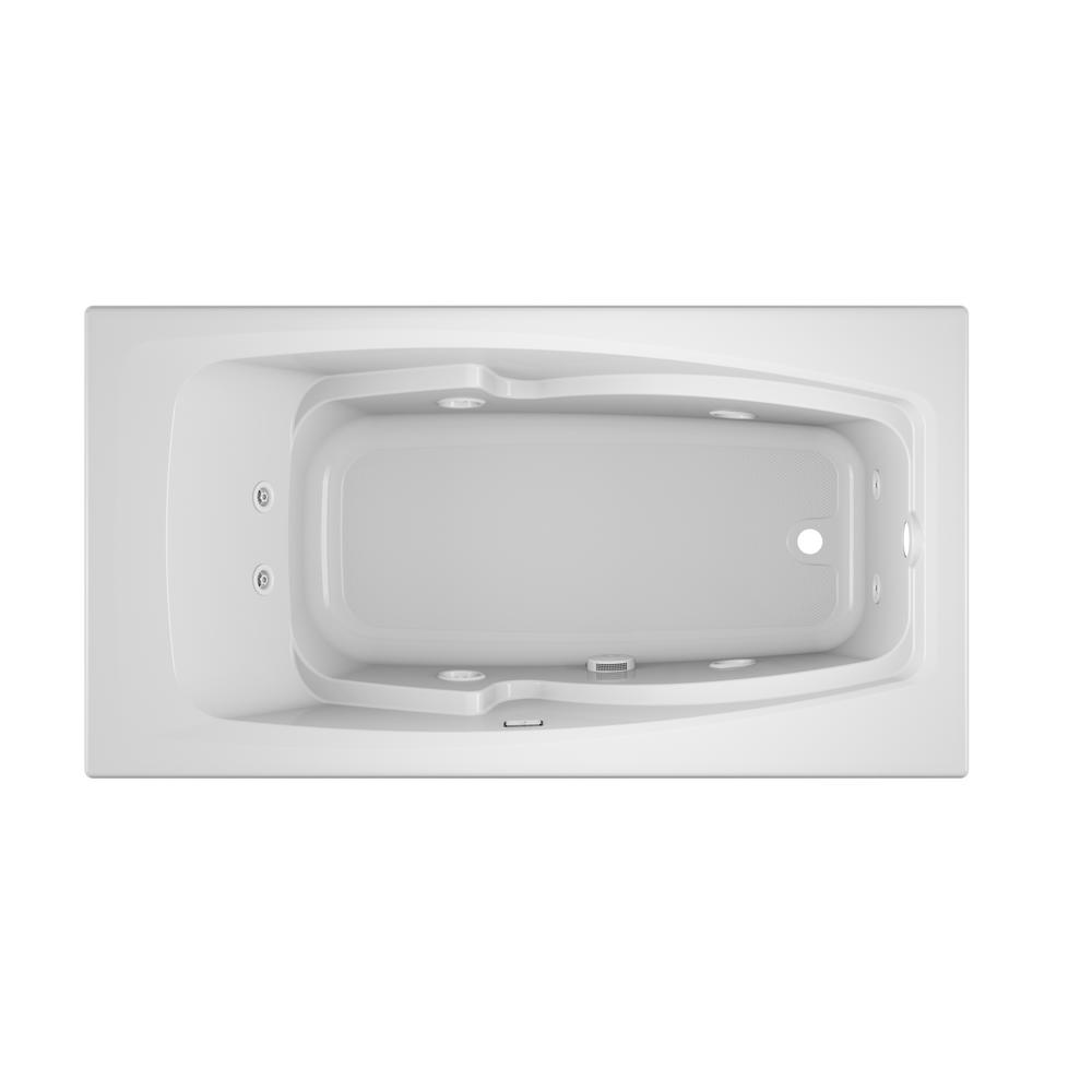 JACUZZI CETRA 60 in. x 32 in. Acrylic Rectangular Drop-In Right Drain Whirlpool Bathtub in White