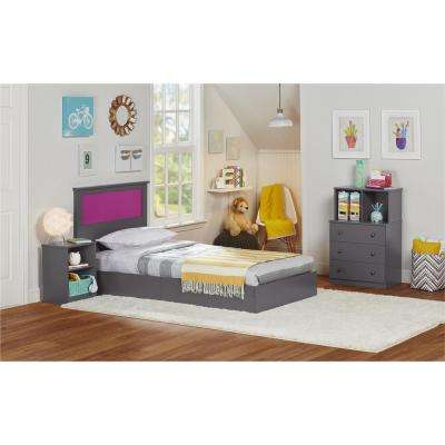 Skyler 3-Drawer Dresser with Cubbies in Graphite